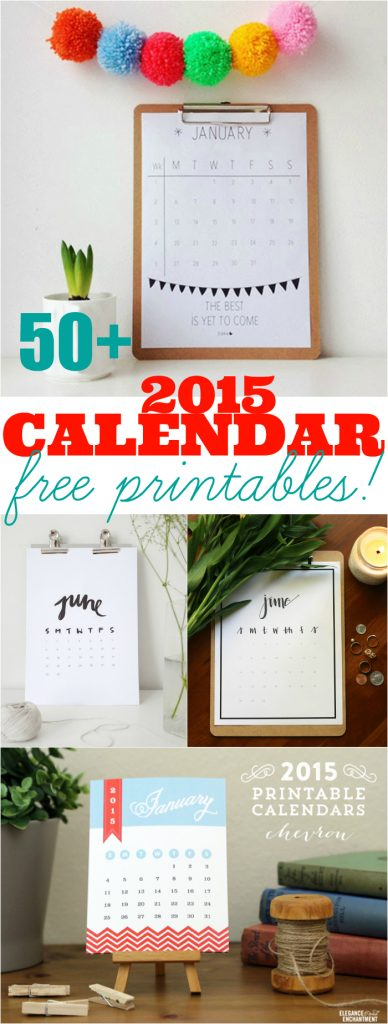 50+ 2015 calendarios imprimibles gratis | Ultimate Roundup!